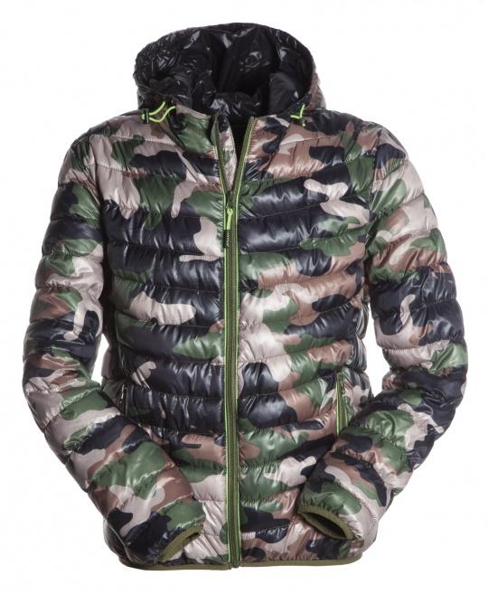 Pánská bundas kapucí v maskáčovém designu