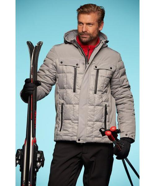 Stylová prošívaná zimní bunda. Softshellové detaily, vodě a větru odolný materiál.